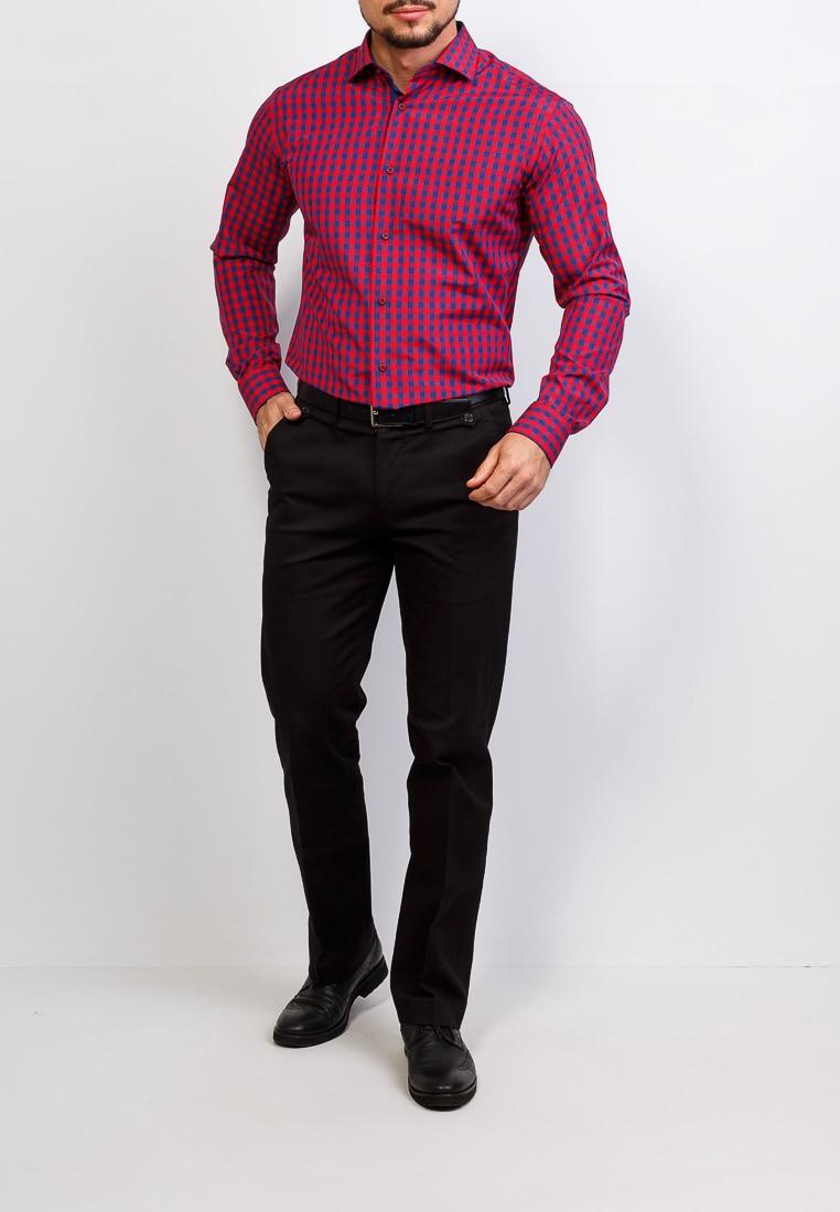 Shirt men's long sleeve GREG 625/139/076/Z/P/1 Red plus size bird and floral print v neck long sleeve t shirt