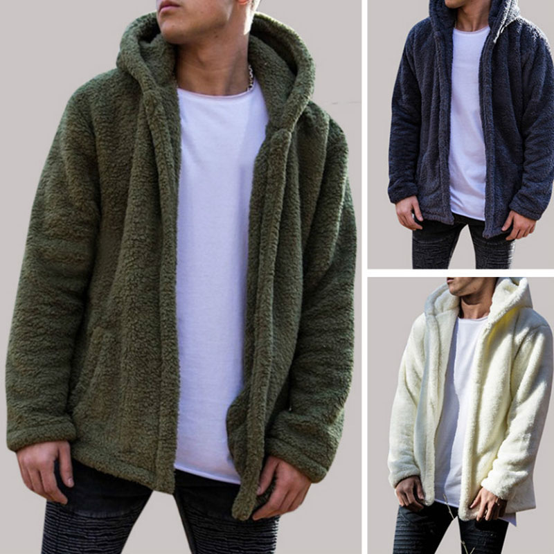Adult Men Winter Casual Fleece Hooded Cardigan Solid Warm Open Front Pocket Hoodie Loose Outwear Coat Long Sleeves For Male 3XL