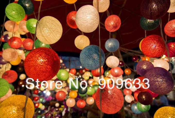 20 bollen katoen bal licht lamp string strip lantaarn handgemaakte interieur wedding xmas party kleurrijke kerst gemengde kleuren in 20 bollen katoen bal