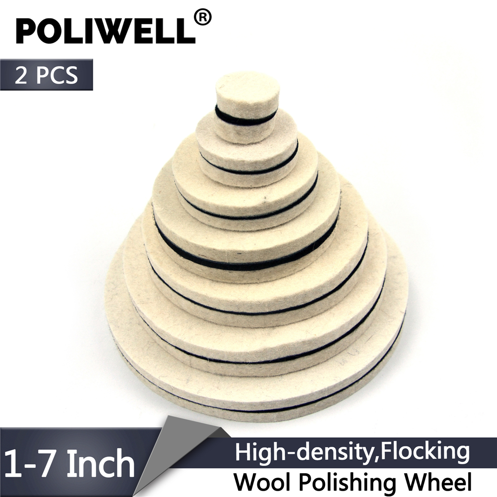 POLIWELL 2PCS 1/2/3/5/6/7 Inch Flocking Wool Felt Polishing Wheel Grinding Sanding Disc High-density Hook&Loop Polishing Pads