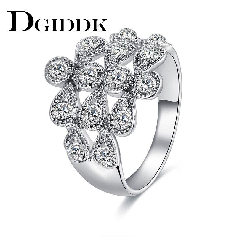 DGIDDK обручальные кольца для Для женщин металлический сплав цинка Обручение вечерние метеорный поток кубического циркония посеребренные ко...