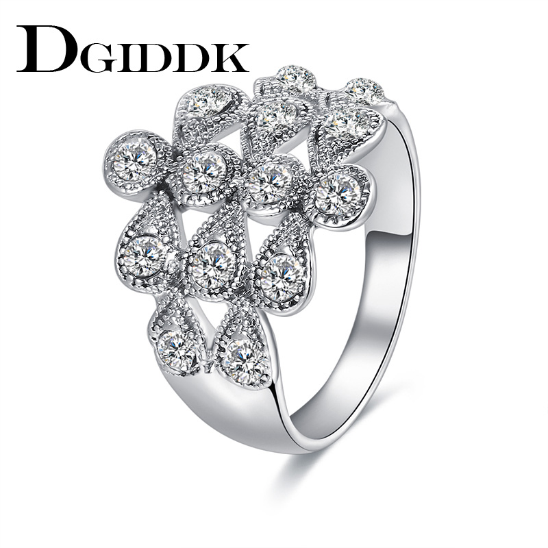 DGIDDK Wedding Bands Rings For Women Metal Zinc Alloy Engagement Party Meteor Shower Cubic Zirconia Silver Plated Ring Jewelry