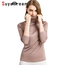 Women base shirt 100%Real Silk Turtleneck long sleeve Bottoming-shirt 2018 FALL WINTER Primer shirt Plus size Spandex top