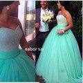 Verde da hortelã Vestidos Quinceanera Lantejoulas Frisado Querida Corpete Espartilho Vestido do Baile de Hortelã 2017 Sparkly Vestido de Concurso