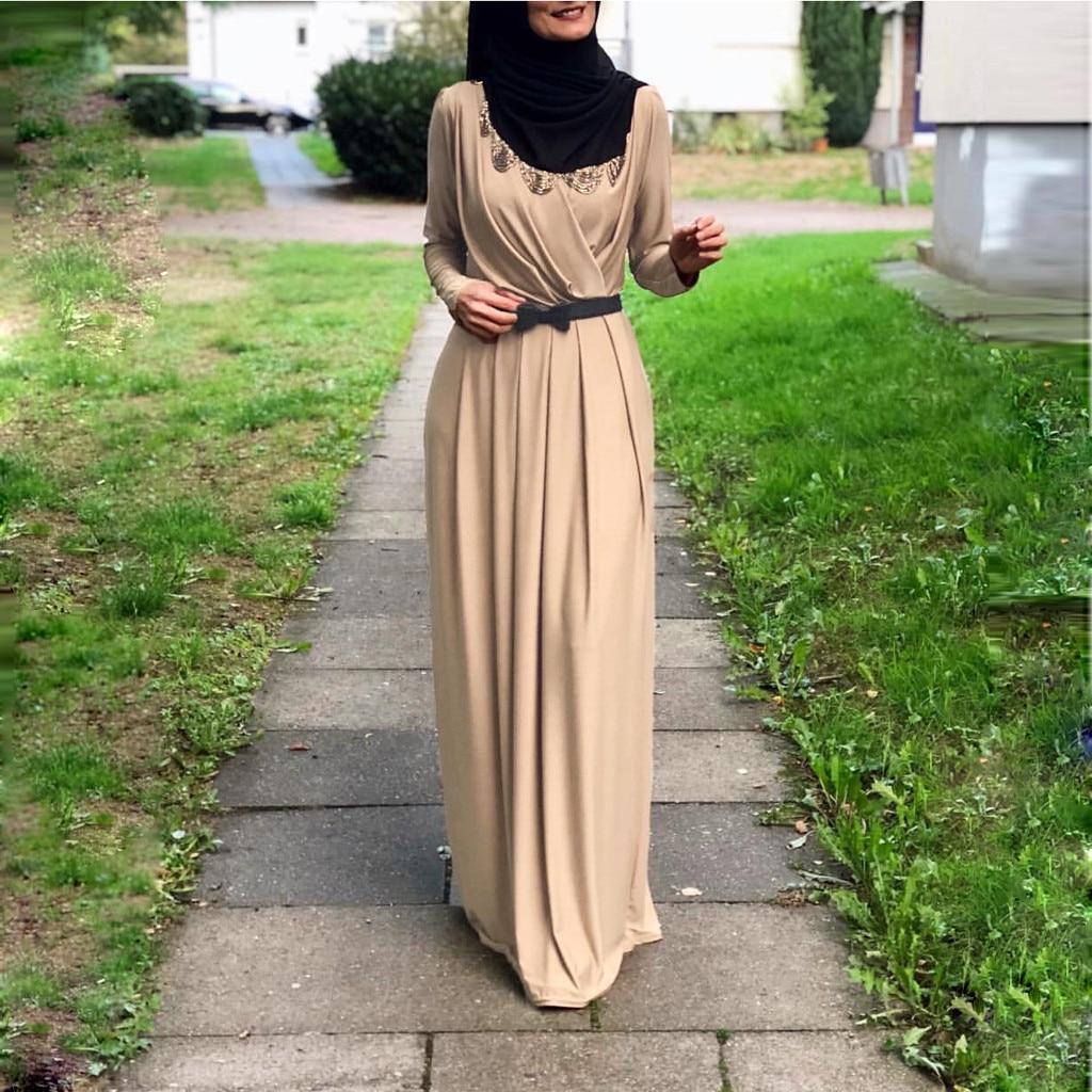 2019 Muslim Abaya Dress Women Fashion Islamic Arabic Long Hijab Pleated Neck Indian Women'S Muslim Dress Burqa Jilab Abaya_3.30