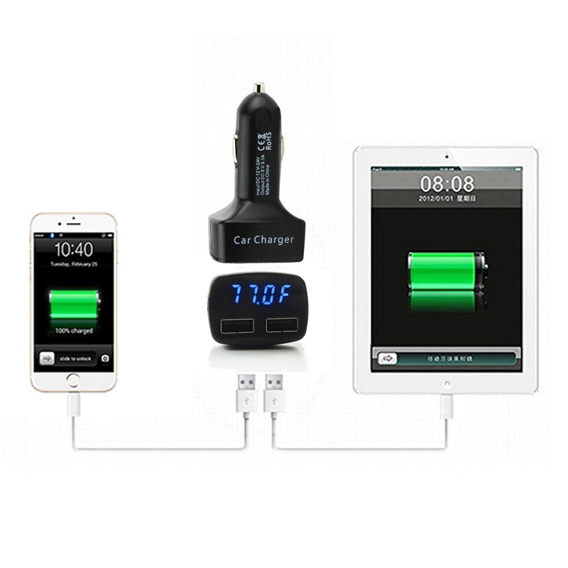 Universal 3.1A Dual 2 USB Ports Rapid Quick Mobile Phone Car Charger, Digital Displays Voltage, Amps and Internal Temperature