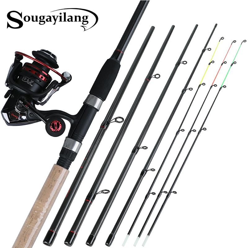 Sougayilang 6 Section M Power Carbon Fiber Spinning Fishing Rod with 13 1BB Carp Fishing Reel