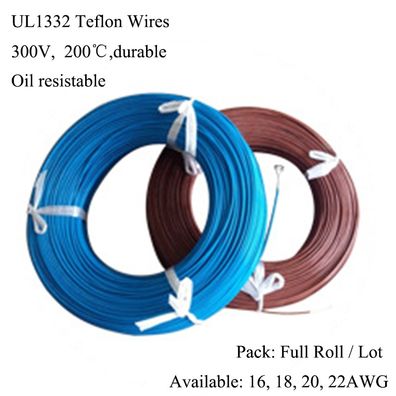 UL1332 18AWG Teflon 200Celsius Heat Durable Wire, 300V Tinned Copper ...