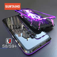 Suntaiho for Samsung note 9 note 8 Case Magnetic Adsorption Case for Samsung Galaxy S8 S9 cases back Glass Magnet Metal bumper