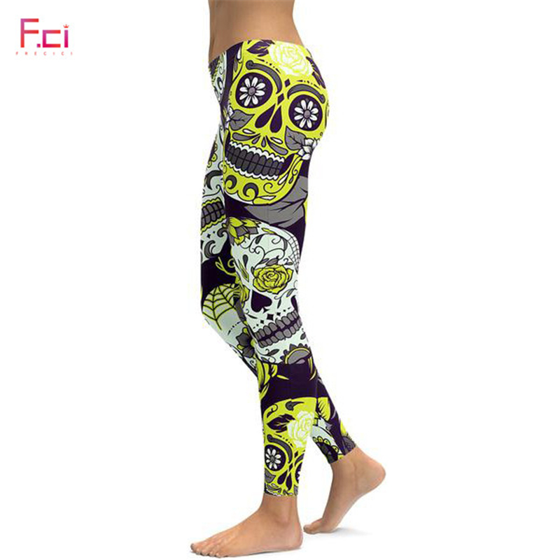 2019 3D Printed Sugar Skull   Leggings   Women Plus Size   Leggings   Workout Casual High Waist Slim Pants S~4XL Plus Size   Leggings