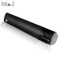 M&J Powerful 10W Bluetooth Speaker Soundbar HIFI Mini Altavoz support TF card FM USB Clock speaker For Computer PC Tablet TV