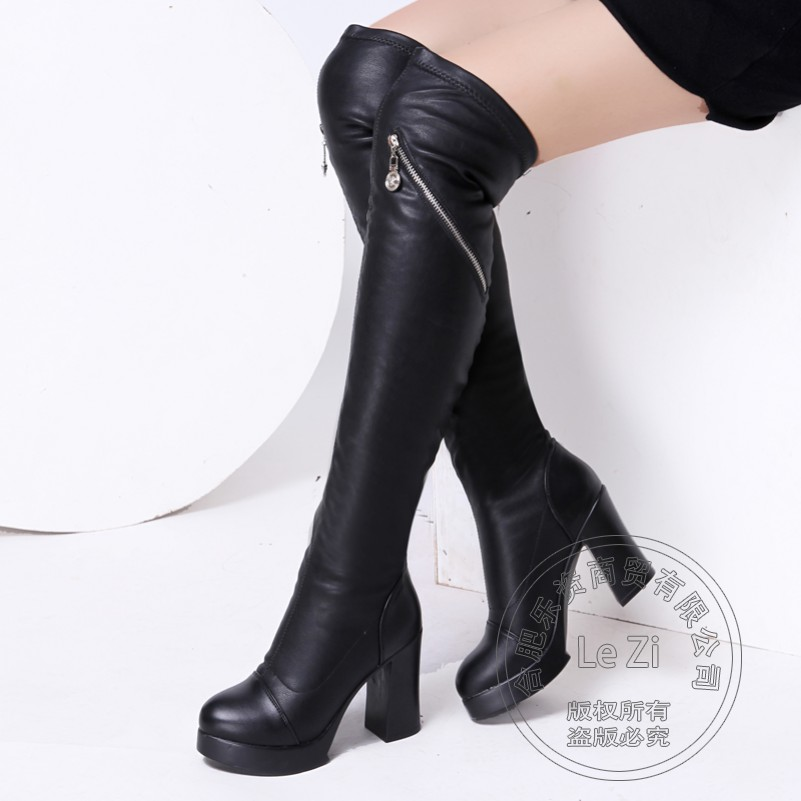 ФОТО Coat Of Paint Cut Out Temperament Square Heel Leisure Cowhide Patchwork Round Toe Black Over Knee Boots Pure Color Carved