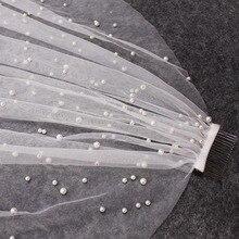 美しいロング真珠のベール 1 層 3 メートルブライダルベール大聖堂 3 メートルホワイトアイボリーウェディングベール真珠の花嫁アクセサリー