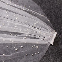 Hermoso velo perla larga de una capa 3 M velo de novia Catedral 3 metros blanco marfil velo de boda con perlas accesorios de novia