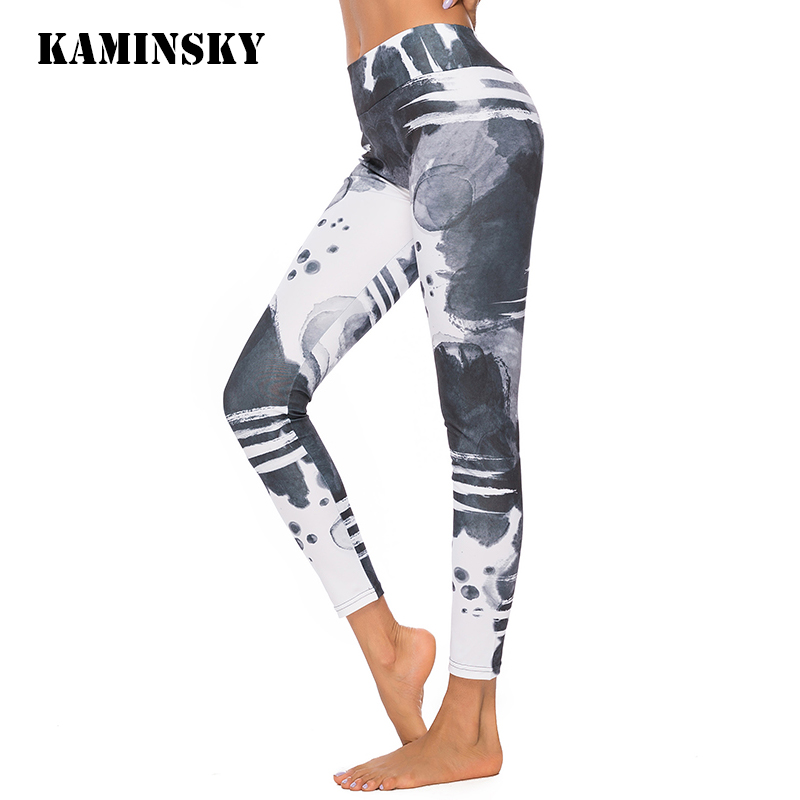 Kaminsky New Women Fitness Ink Printing Jeggings Women High Waist Push Up Pants Workout Patchwork Skinny Sexy Women Leggings
