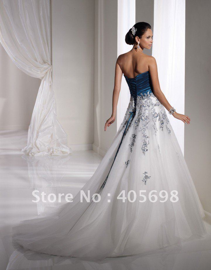 Off Shoulder Two Colour Wedding Muslim Wedding Gown White Royal Blue