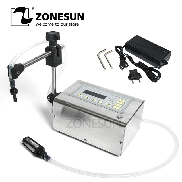 ZONESUN 5-3500ml Accuracy Portable Digital Liquid Filling Machine LCD Display Perfume Drink Water Milk Small Bottle Vial Filler