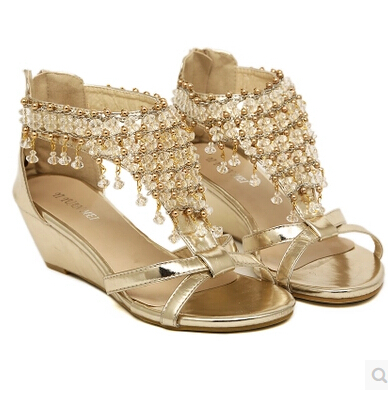 0ccae019939a 2017 New Summer open toe Rhinestone zipper pearl beaded wedges sandals high  heel sliver Gold size 35 39 fashion shoes women-in Women s Sandals from  Shoes on ...