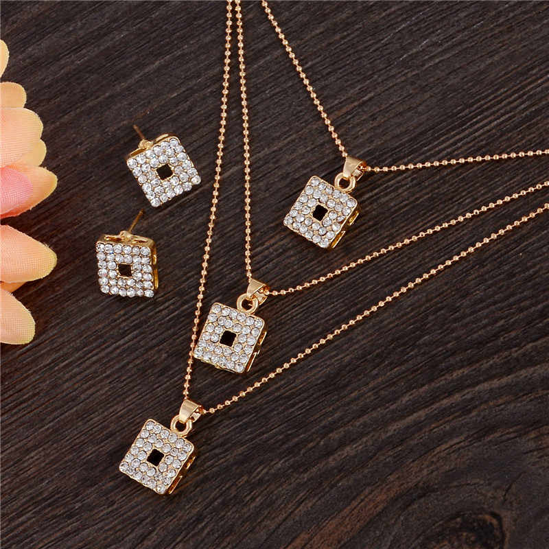 Free shipping New Yellow Gold Women's Jewelry Sets Dubai African Chain Multilayer Pendant Necklace Drop Earrings Set