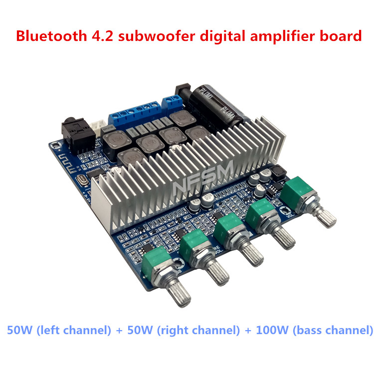 цена DC12V-24V 2*50W+100W New TPA3116D2 Subwoofer Amplifier Board 2.1 Channel High Power Bluetooth 4.2 Audio Amplifier Board