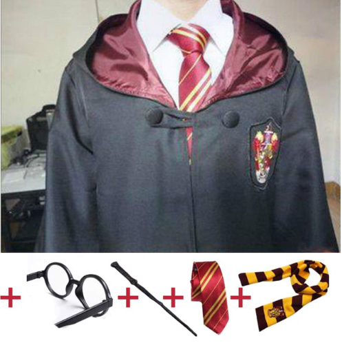 Cosplay costume bathrobe cloak with tie scarf Ravenclaw Gryffindor Hufflepuff Slytherin for adult children