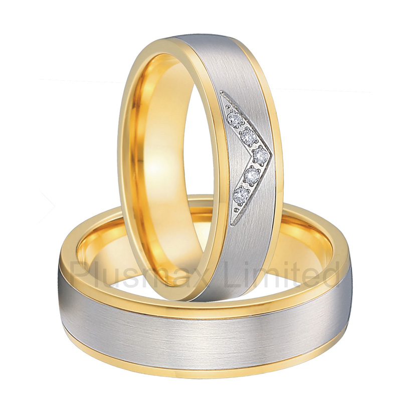 Anel de Casamento titanium jewelry Manufacturer direct bicolor gold color engagement wedding rings anel de casamento cheap pure titanium satin surface gold color colorful stone cheap pure titanium promise wedding band rings