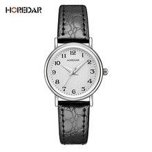 HOREDAR Marca Nueva Moda Reloj de Las Mujeres Classic Correa de Cuero Elegante Número Dial Casual Reloj de pulsera de Cuarzo Reloj de Las Señoras Populares