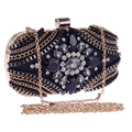 New Luxury Gem Diamond Flower Crystal Evening Bag Clutch Bags Handbags Women Famous Brands Lady Wedding Purse Bolsa De Festa