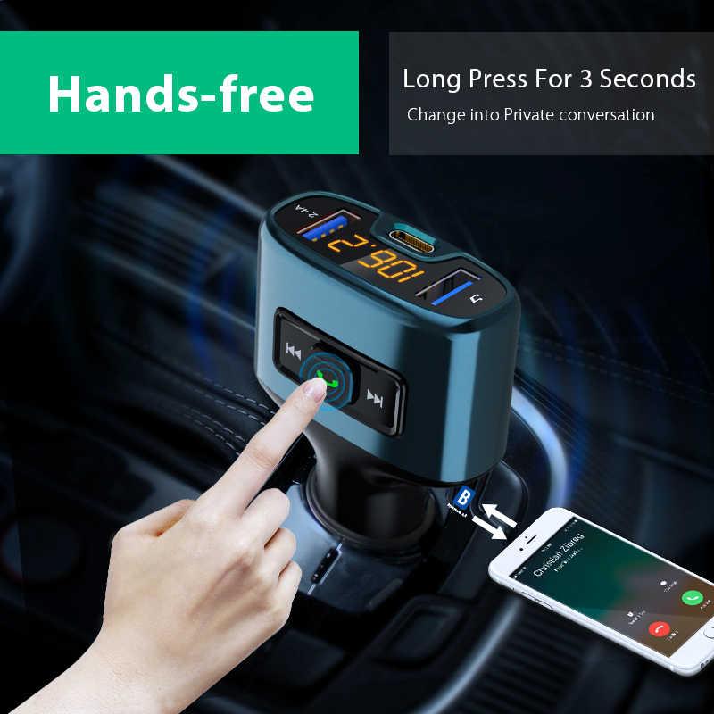 VANJEW C52 автомобильные аксессуары HandsFree Bluetooth Автомобильный fm-передатчик Автомобильный MP3-плеер TYPE-C Быстрая зарядка аудио двойная Автомобильная usb-зарядка