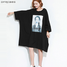 Casual Plus Size Dresses For Women 4XL 5XL 6XL Black Oversized T Shirt  Dress Print Character 4407d08a579f
