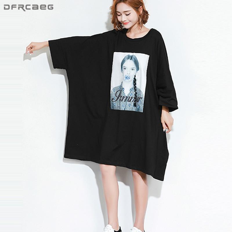 Casual Plus Size Dresses For Women 4XL 5XL 6XL Black Oversized T Shirt Dress Print Character Harajuku Loose Dress Vestido Midi