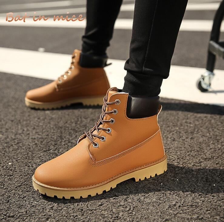 Fashion Men Casual Ankle Motorcycle boots Shoes Autumn Winter Men Comfort flats Warm Work Safety snow boots Shoes zapatos Y002 цена