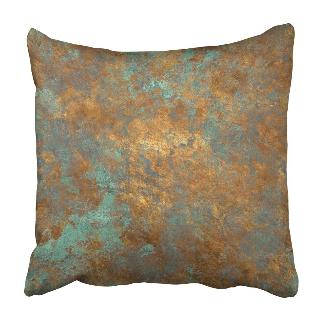 Pillow Cover Orange Copper Vintage Bronze Rust Metal Patina Wall Old Antique Luxury Deco Cushion Pillowcase Print Home