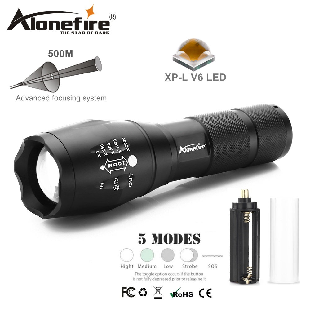 AloneFire E17 pwerus LED Flashlight CREE LED-Flash V6 L6 T6 T6 LED 9000LM linterna fflachlamps dal dŵr ar gyfer batri 18650