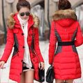 Women Hooded Coat Md-long Faux Fur Collar Cotton-padded Wadded Jacket Slim Tunic With Belt Thick Overcoat Parkas ZL3470