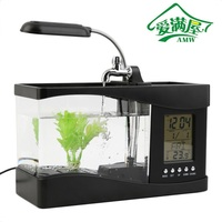 AMW 2017 New Arrival Popular New USB Desktop Mini Fish Tank Aquarium LCD Timer Clock LED