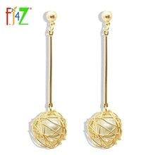 F. j4Z nuevos pendientes oro-color Stick Hollow bolas de alambre con La Perla de Faux interior gota pendientes aretes joyeria
