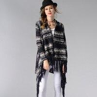 Thời trang Collarless Kimono Cardigan Dài Tay Áo Poncho Màu Xanh Xám Áo Len Tribal Print Asymmetrical Cardigan Phụ Nữ Tops 177-41 Gam