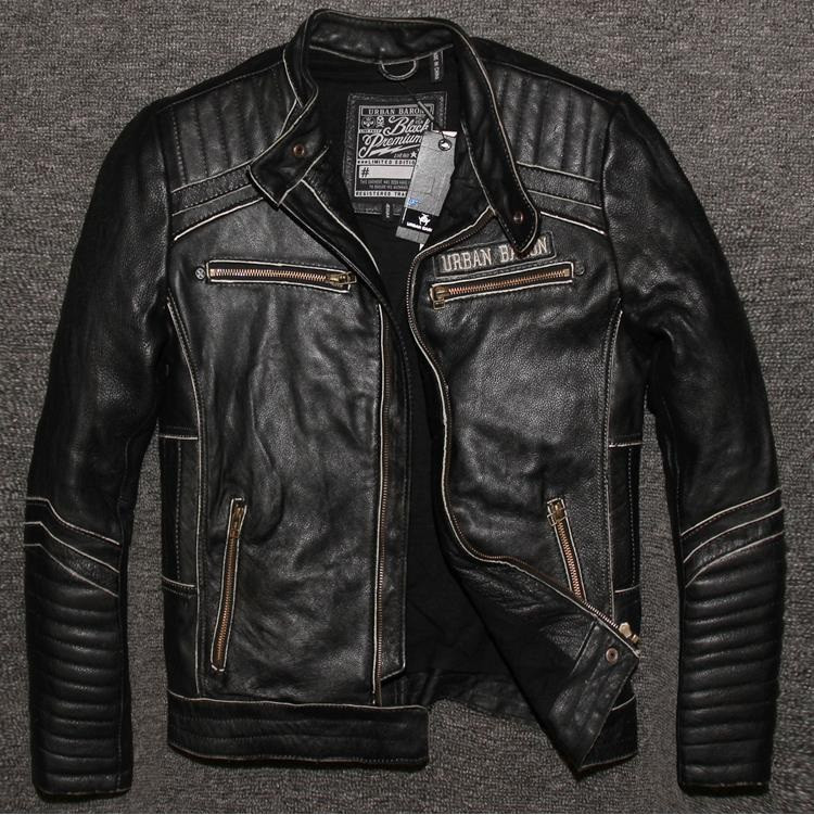 Free Shippingbrand Mens Skull Leather Jackets,Men Genuine -4040