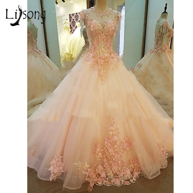 Romantic Crystal Bridal Dresses Beaded 3D Flower Puffy Wedding Gowns Lace  Sexy Backless Wedding DRess Lebanon Robe De Mariee 3b06322642b1