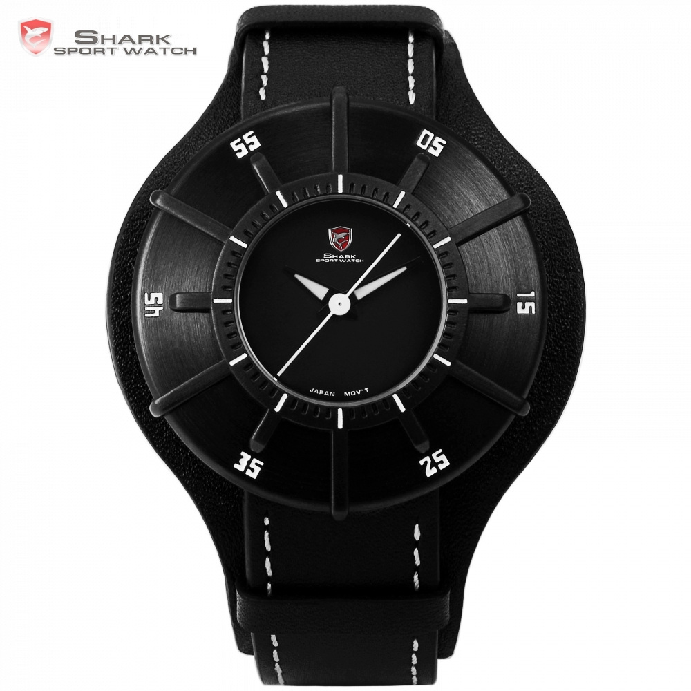 Silky Shark Sport Watch 3D Stylish Black Top Brand Mens Sundial Waterproof Clock Real Leather Wrist Watches Reloj Hombre /SH484 women watches wen reloj hombre sport high quality boys girls students time clock electronic digital lcd wrist sport watch 2