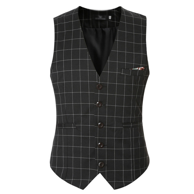 Men Plaid Vest Business Formal Wedding High Quality Fashion Men Casual Waistcoat Vests New Stylish 0080