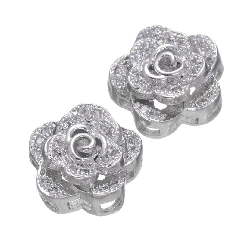 ٩(^‿^)۶Fashion Micro Pave Rose Flower Charm Beads Clear ...