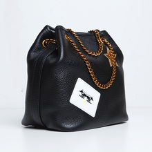 2016 women's genuine leather bucket handbag fashion personality cow leather bag fashion leather handbag with cartoon logo
