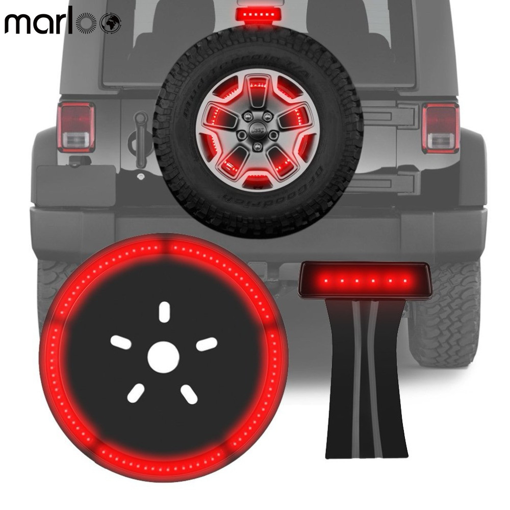 Marloo Wrangler Set 3rd Third Brake Light & Spare Tire Light for Jeep Wrangler Jk 2007-2017 LED Wheel Rear Tail Lights