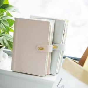 Image 3 - Yiwi 마카롱 pu 가죽 나선형 노트북 원래 사무실 개인 일기 플래너 의제 주최자 귀여운 30mm 링 바인더 a5 a6