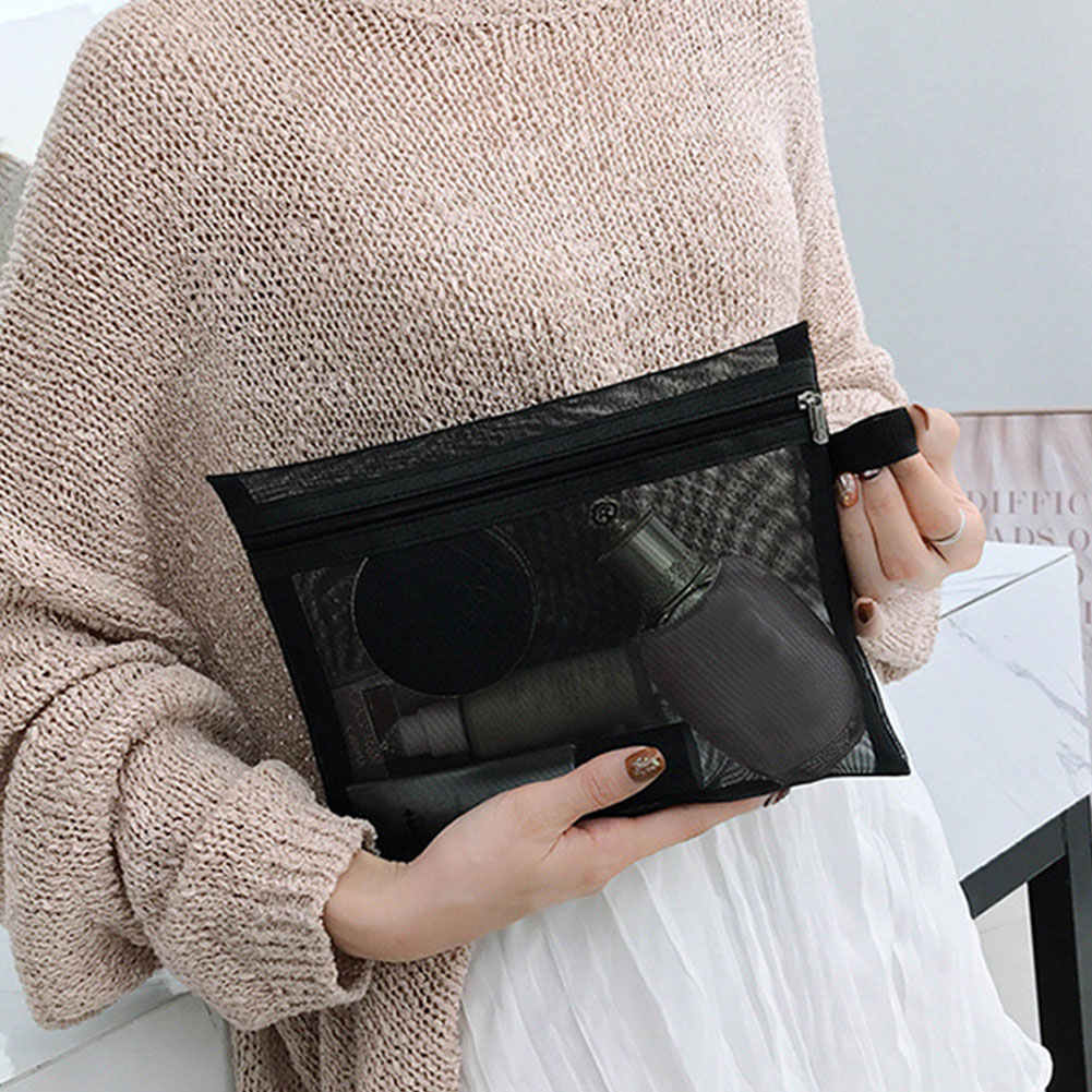 Zipper Wash Toiletry Portable Organizer Multifunction Storage Black Cosmetic Bag Fashion Women Travel Transparent Mesh Makeup