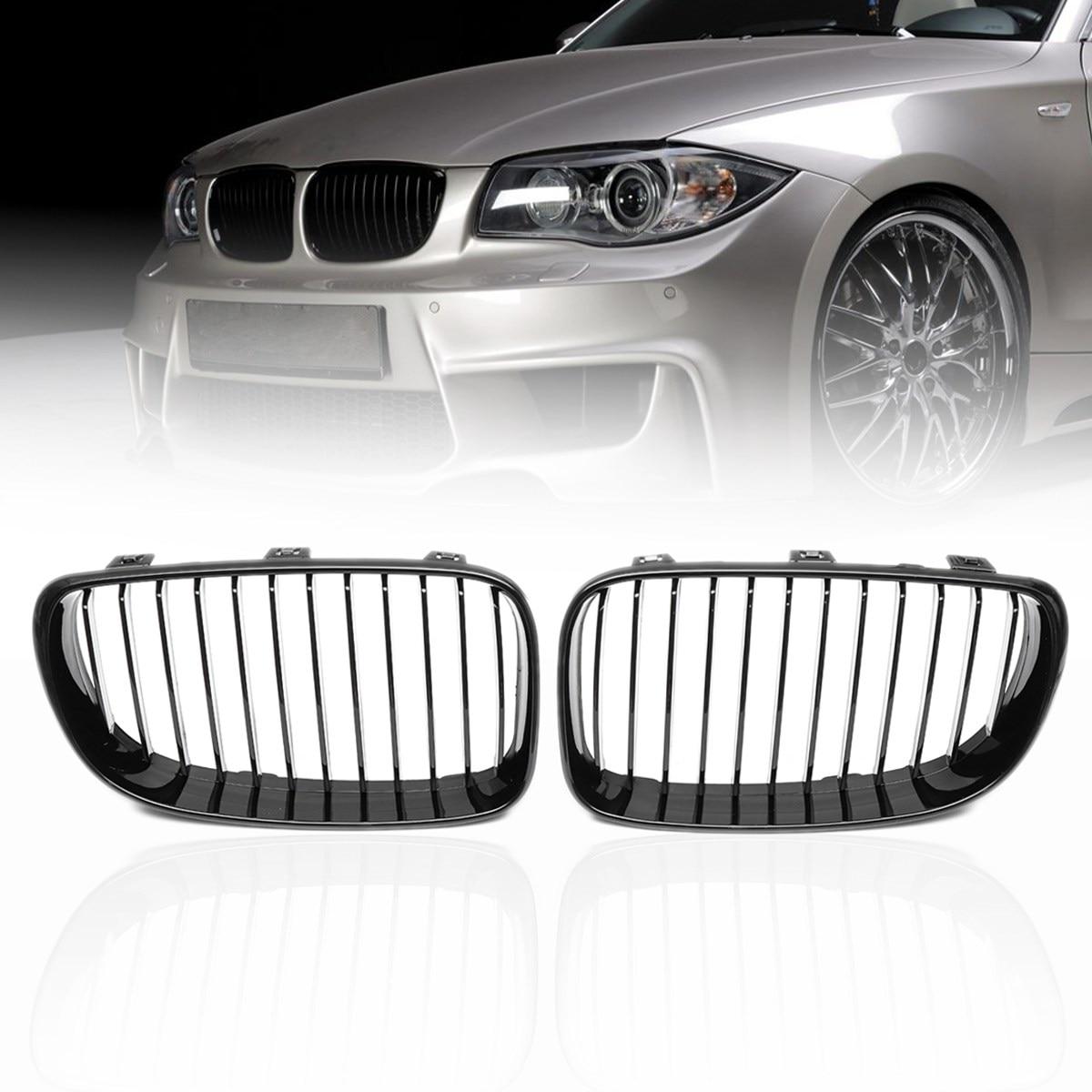 Pair ABS Matte Gloss Black M Color Carbon 2 Slat Front Kidney Grilles For BMW 1