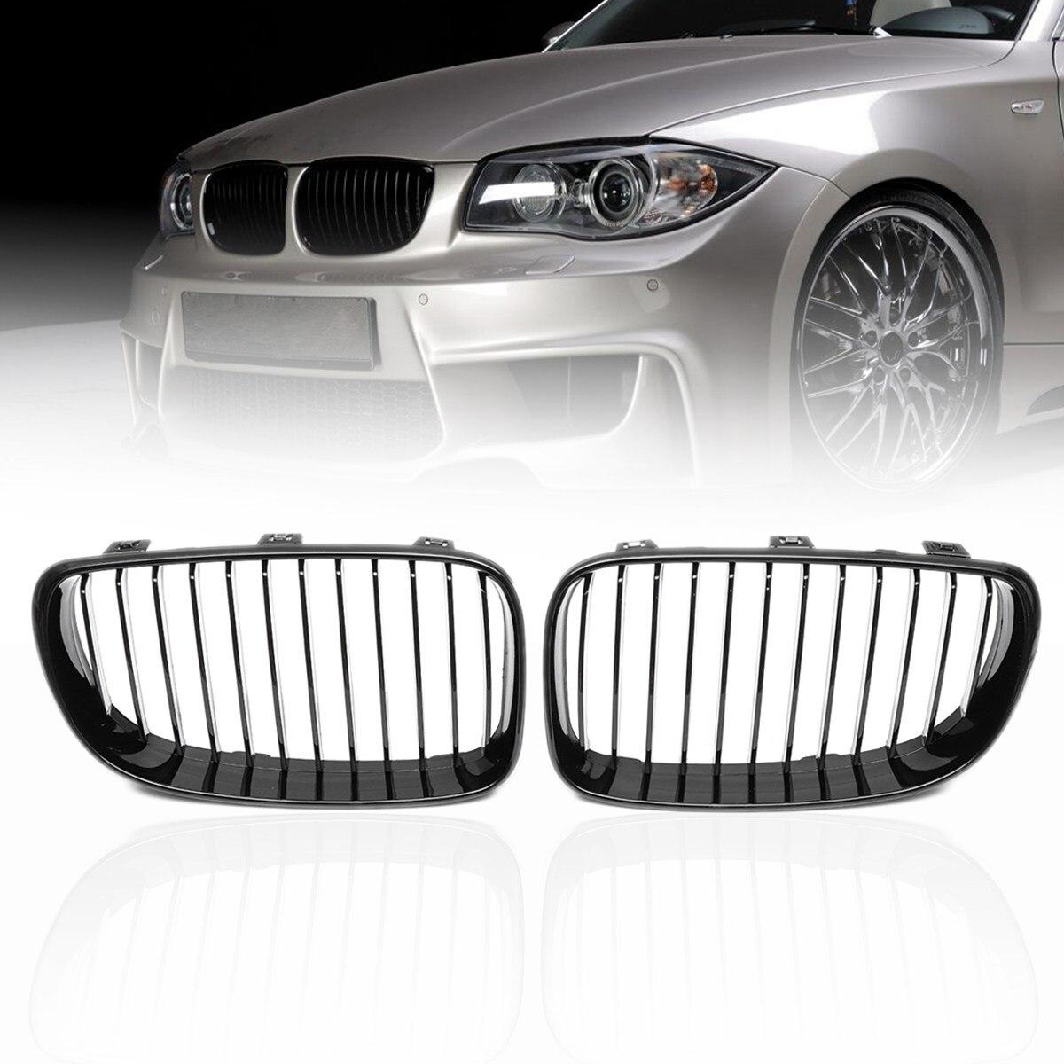 Pair ABS Matte Gloss Black M Color Carbon 2 Slat Front Kidney Grilles For BMW 1 SERIES E81 E82 E87 E88 2 4d 2007 2008 2012 2013