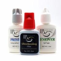 Free Shipping IB 10ml Ultra Bonding Glue+ primer+ remover set for Eyelash Extensions fast dry long holding time Korea glue